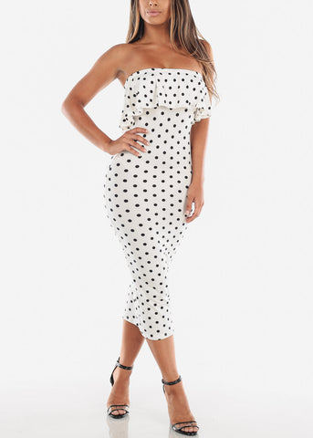 Polka Dot White Bodycon Midi Dress