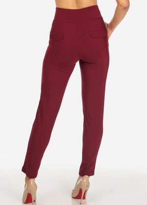 Elegant Dressy High Rise Burgundy Pants