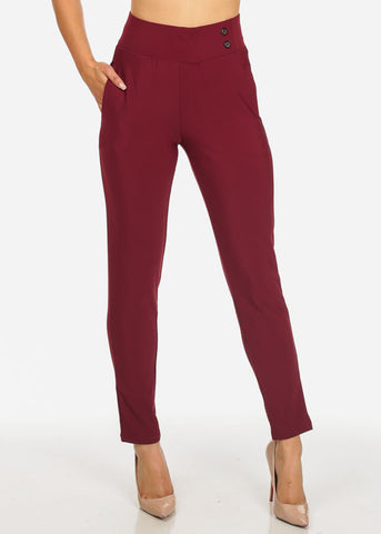 Image of Elegant Dressy High Rise Burgundy Pants