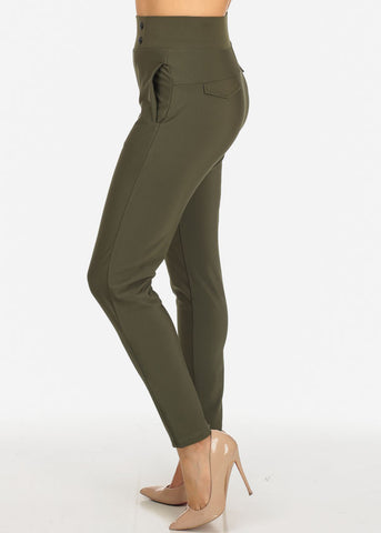 Image of Elegant Dressy High Rise Olive Pants