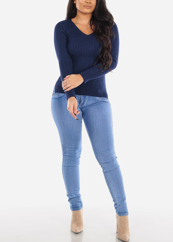 Image of Ribbed Navy V-Neck Sweater