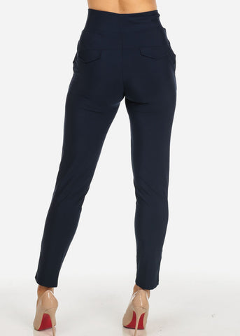 Elegant Dressy High Rise Navy Pants