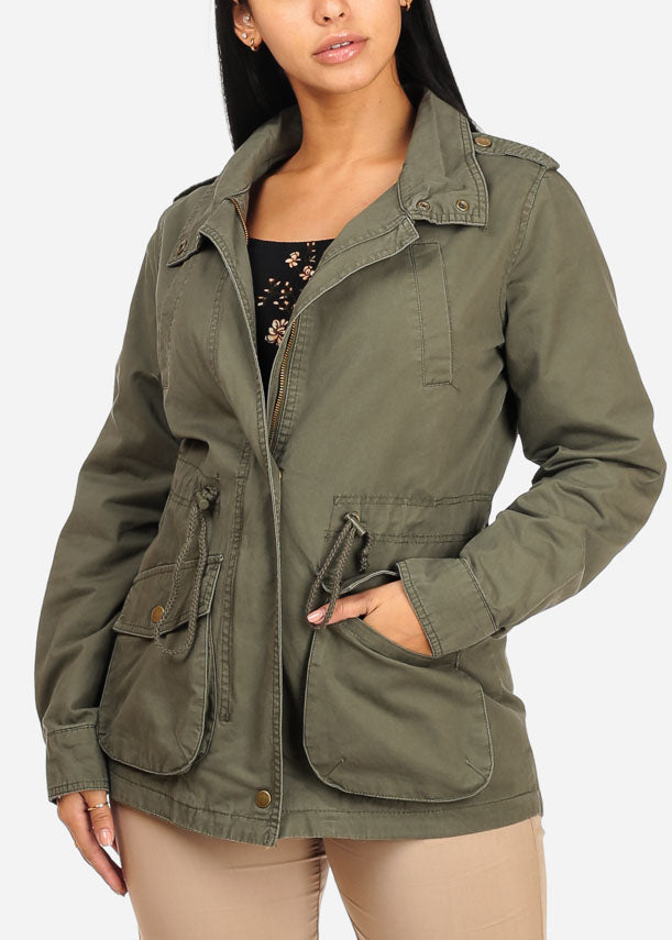 Cargo Style Zip Up Olive Jacket