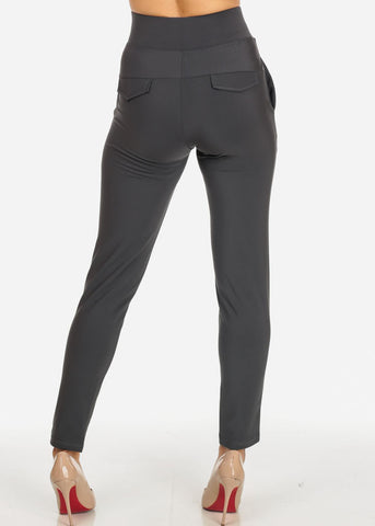Elegant Dressy High Rise Grey Pants