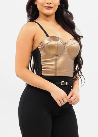 Women's Junior Ladies Sexy Must Have Going Out Sexy Clubwear Night Out Party Spaghetti Strap Gold Bustier