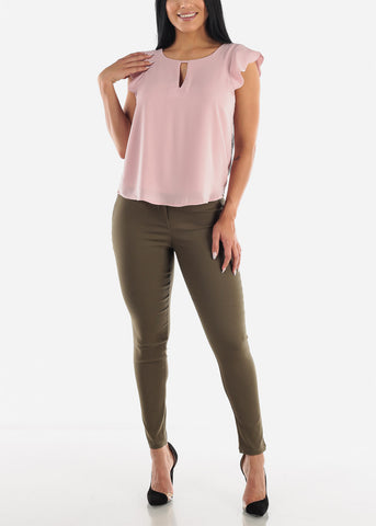 Blush Keyhole Top