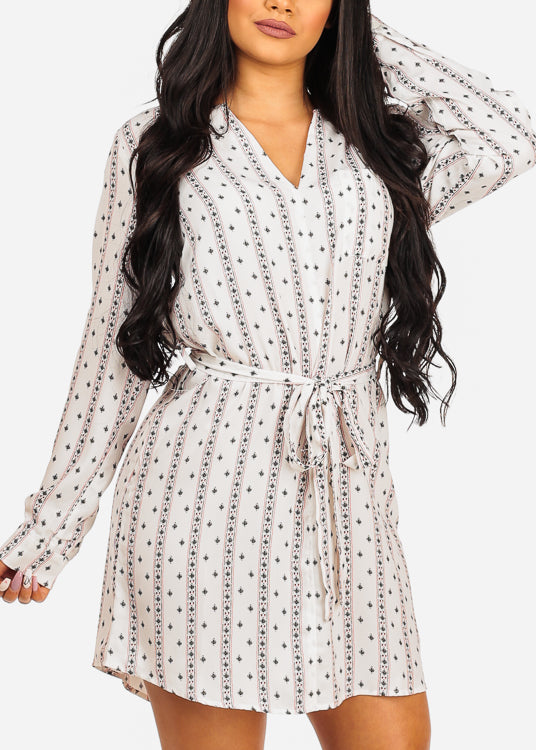Lightweight Multi Tribal Print White Dress W Tie Belt