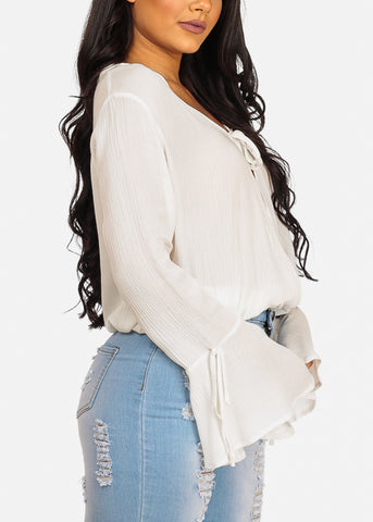 Sexy Elegant White Wrap Front Angel Sleeve Top