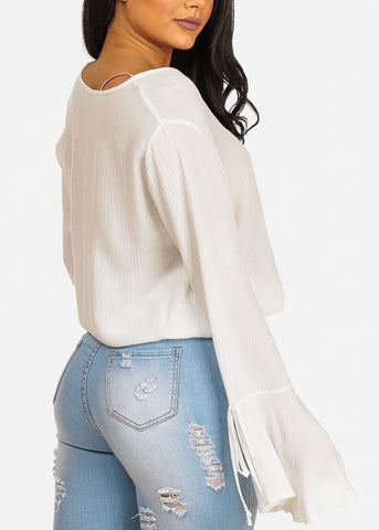 Image of White Wrap Front Top