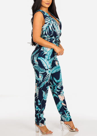 Sleeveless Lightweight Floral Print Navy Jumpsuit W Tie Belt