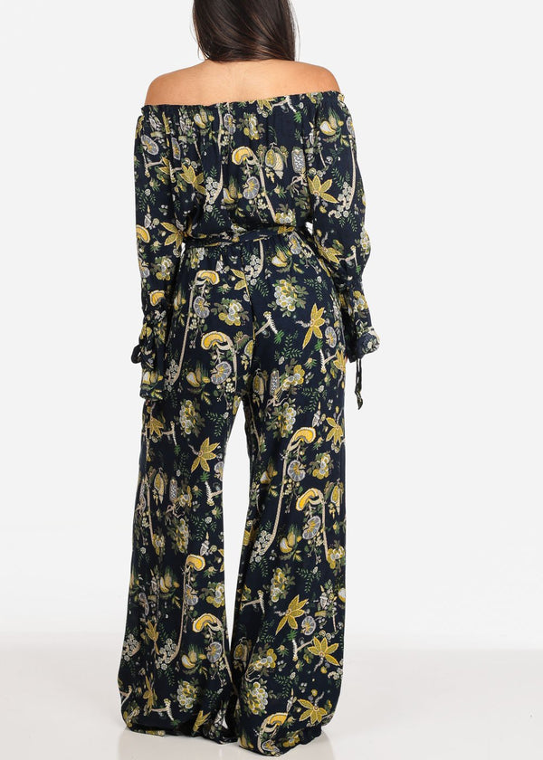 Off Shoulder Floral Navy Jumpsuit