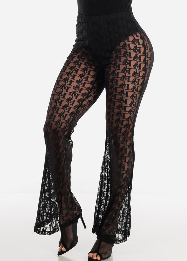 See Through Black Palazzo Pants