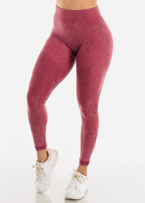 High Rise Burgundy Leggings