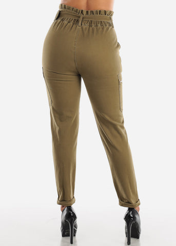 Image of Paperbag Olive Belted Pants
