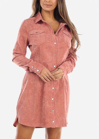 Pink Corduroy Button Down Dress