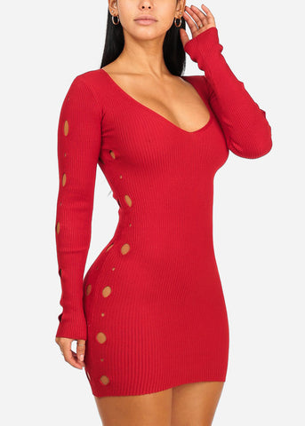 Image of Red Side Cut Knitted Mini Dress