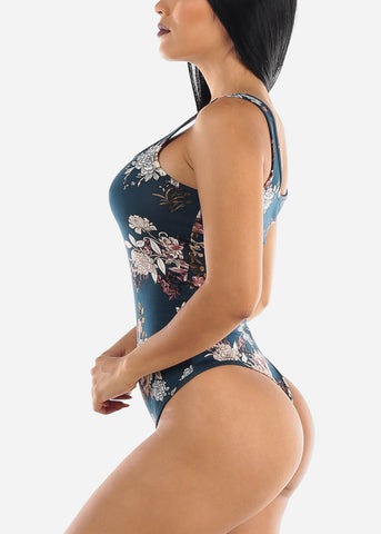 Image of Sleeveless Floral Teal Bodysuit