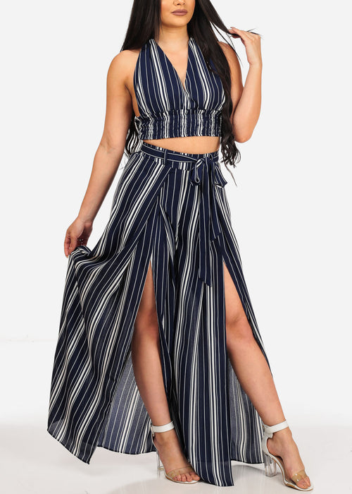 Women's Stylish Summer Lightweight Blue And White Stripe Crop Top And Wide Legged Pants Two Piece Set