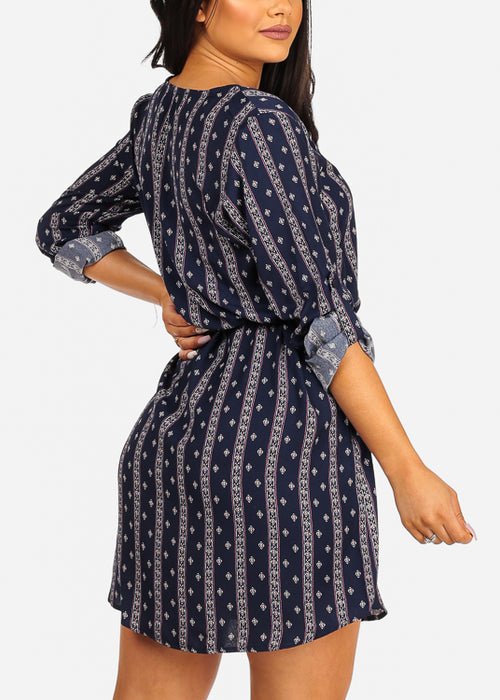 Lightweight Multi Tribal Print Navy Dress W Tie Belt
