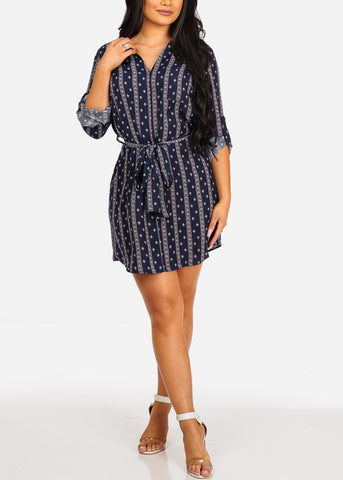 Image of Lightweight Multi Tribal Print Navy Dress W Tie Belt