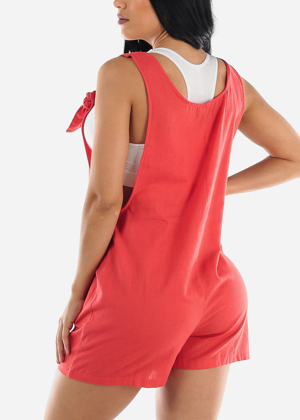 Coral Linen Cotton Button Up Romper