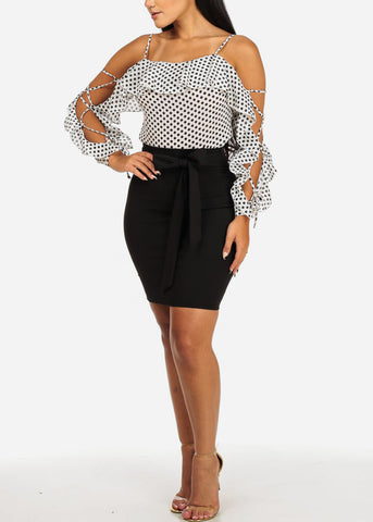 Image of White and Black Polka Dot Blouse