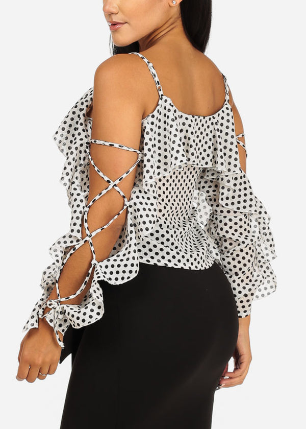 White and Black Polka Dot Blouse