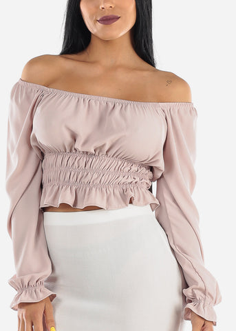 Image of Off Shoulder Smocking Oyster Crop Top