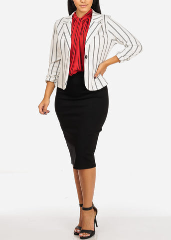 Image of Dressy Red Stripe Blouse