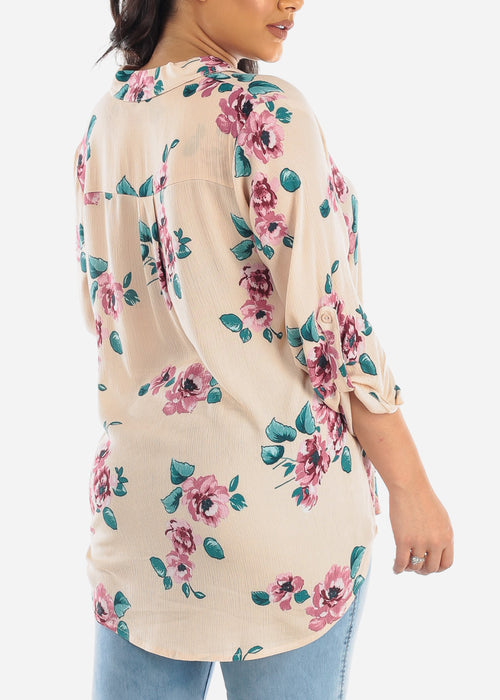 Cute Casual Stylish 3/4 Sleeve Lightweight Floral Print Peach Long Tunic Top For Women Ladies Junior