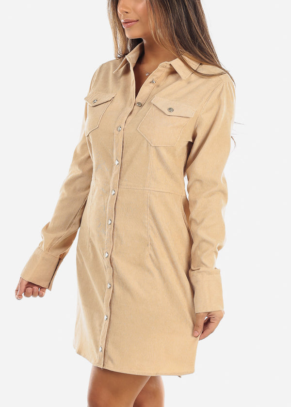 Beige Corduroy Button Down Dress