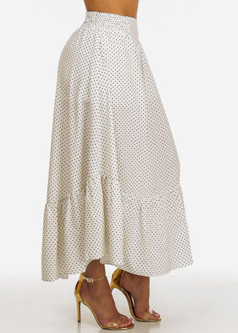 Black and White Polka Dot Maxi Skirt