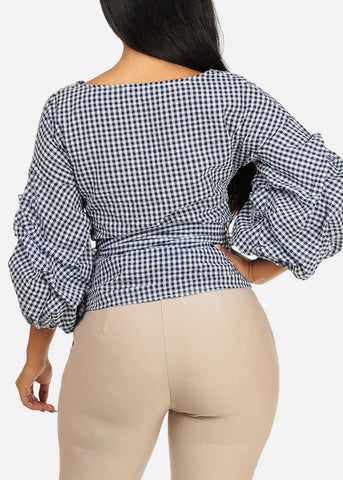 Image of Navy Plaid Print Wrap Front Top