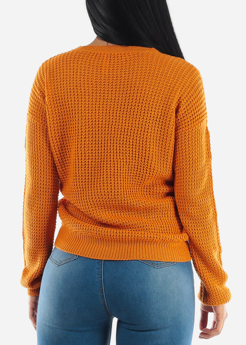Long Sleeve Knitted Rust Sweater