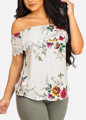 Cute Trendy White Off Shoulder Floral Print Top
