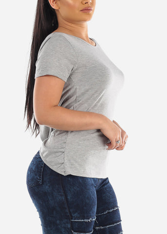 Image of Scoop Back Strappy Grey Top