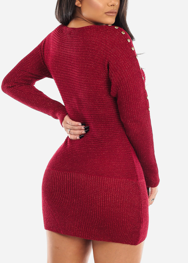 Sexy Knit Burgundy Sweater Dress