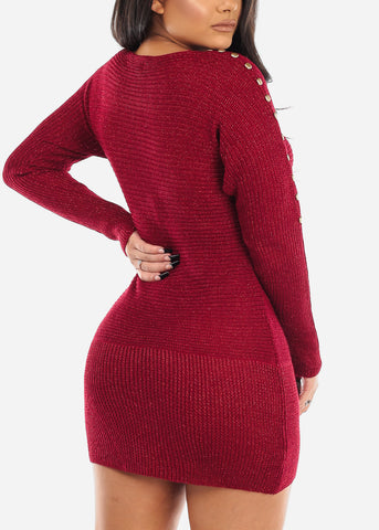 Image of Gold Button Detail Burgundy Sweater