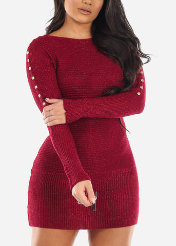 Gold Button Detail Burgundy Sweater