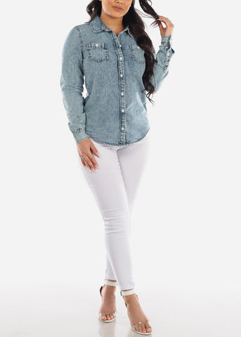 Women's Junior Trendy Going Out Button Up Acid Wash Long Sleeve Jean Denim Button Up Shirt