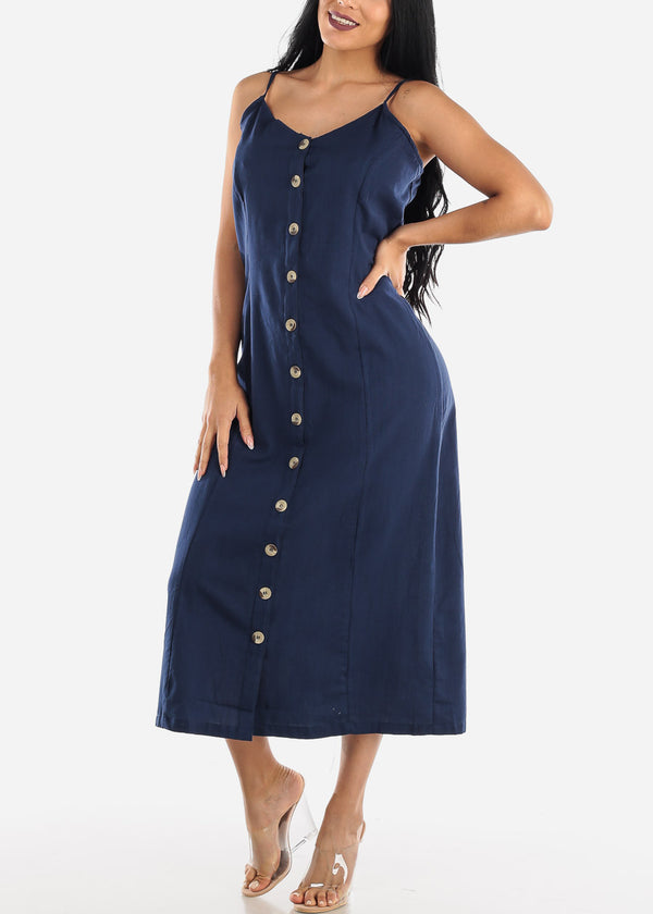 Button Up Navy Cotton Maxi Dress