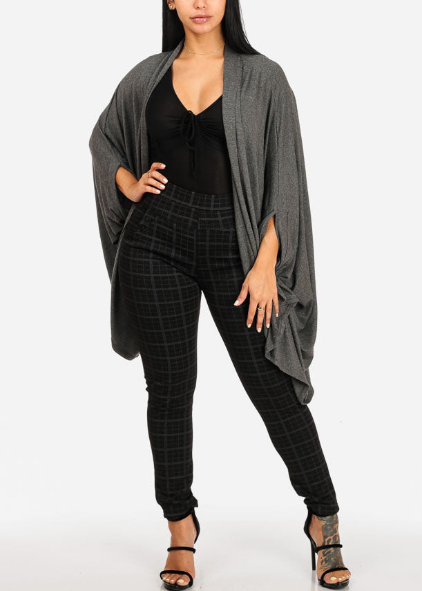 High Rise Plaid Print Black Pants