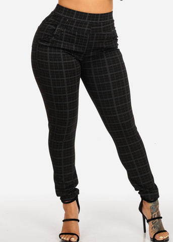 Image of High Rise Plaid Print Black Pants