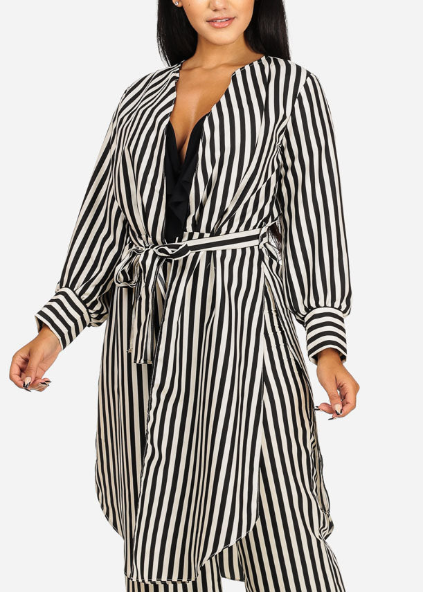 Black Stripe Maxi Belted Cardigan