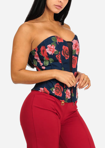 Image of Sexy Floral Print Denim Corset