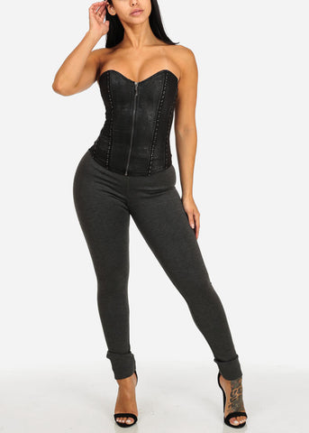 Sexy Black Sweetheart Front Zipper Corset