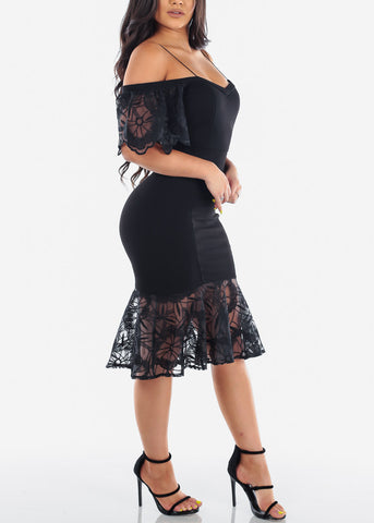 Women's Junior Ladies Sexy Elegant Little Black Dress Cold Shoulder Floral Mesh Mermaid Style Dress
