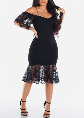 Image of Women's Junior Ladies Sexy Elegant Little Black Dress Cold Shoulder Floral Mesh Mermaid Style Dress