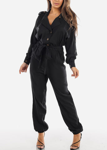 Image of Black Button Down Jogger Jumpsuit