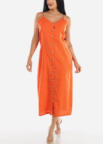 Button Up Orange Cotton Maxi Dress
